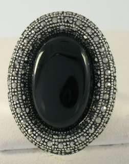 Marcasite Sterling Silver Large Black Onyx Ladies Ring