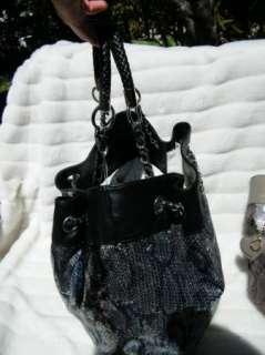 BEBE bag purse handbag SATCHEL pocketbook hobo leatherett sequin black