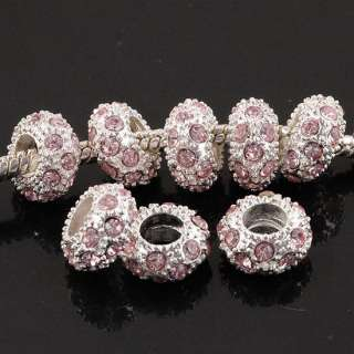Silver 5P Crystal Rhinestone European Spacer Beads Fit Charm Bracelets