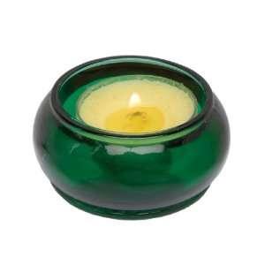 Biedermann Emerald Green Glass Tealight Disk Candle Holder