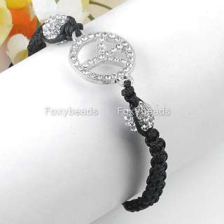 Fashion Clear Crystal Peace Sign Pave Disco Ball Beads Macrame