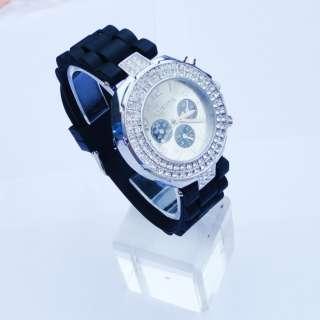 Geneva Silicone Crystal Quartz Men Ladies Women Jelly Wrist Watch