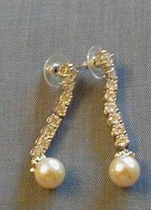JACQUELINE KENNEDY SILVER TONE CLEAR CRYSTAL AND FAUX PEARL EARRINGS