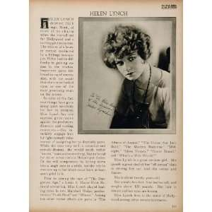1923 Helen Lynch Silent Film Actress Biography Print