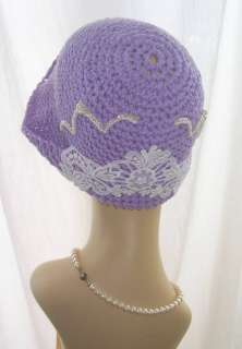 The white Venise Lace Covers the Hat Brim and Above are White Pearl