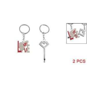 Pair of Silver Tone Metal Lovers Key Ring Keyring