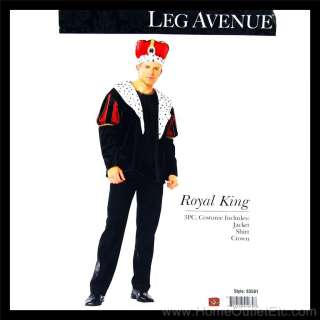 Mens 3 PC. ROYAL KING Jacket Robe Crown Outfit Leg Avenue 83581 Adult