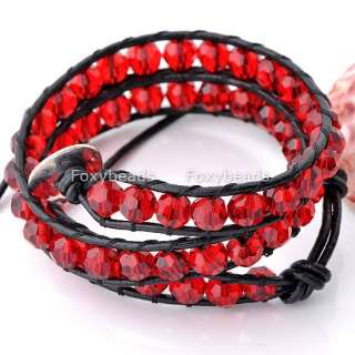 11/Color FASHION STYLE 2 Wrap Crystal Glass Beads Black Leather
