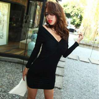 SEXY V NECK LONG SLEEVES SLIM FIT PARTY COCKTAIL DRESS STRETCH ZZ00210