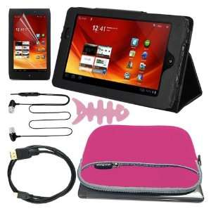 Premium Screen Protector + Black Stand Leather Case + Pink Gloving