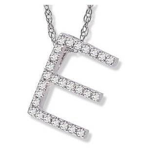 14k White Gold Alphabet Initial Letter E Black Diamond