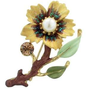 Topaz Flower with Pearl Swarovski Crystal Pin Brooch Jewelry
