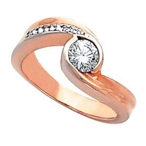 14K Rose Gold Diamond Engagement Ring   0.55 Ct. Jewelry
