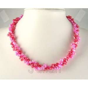 18 7mm Red & Pink Freshwater Pearl Necklace J050