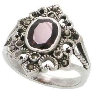 Sterling Silver Marcasite Hexagon shaped Ring, w/ Oval Cut