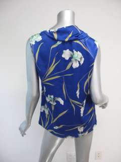 Dries Van Noten Blue/Green Floral Print Cowl Neck Sleeveless Blouse 40