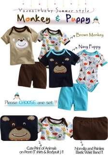 Newborn Baby Boys Top Bodysuit Pants 3 Set  Monkey & Puppy