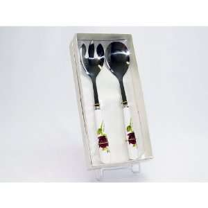 2 Piece Salad Serving Set, Fork & Spoon, Red Rose