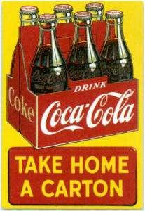 TAKE HOME A CARTON COCA COLA EMBOSSED METAL TIN SIGN