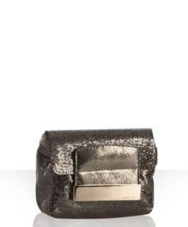 Jimmy Choo metallic grey glitter fabric Caro convertible clutch