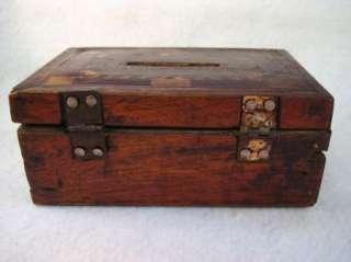 Antique Folk Art Tramp Money Box Inlaid lid
