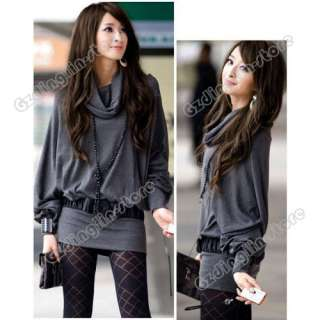Womens Long Sleeve Casual T Shirt Tops Mini Dress Blouse Ruff Neckline