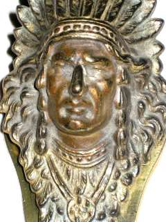 ANTIQUE NATIVE AMERICAN INDIAN ART DESK PAPER CLIP HOLDER CAST IRON
