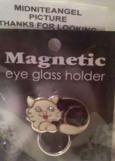 BLACK & WHITE KITTY CAT MAGNETIC EYE GLASS HOLDER