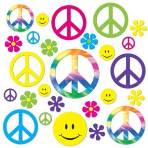 1960s 60s Party RETRO PEACE SIGN FLOWERS SMILEY FACE