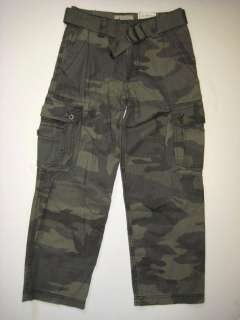 ARIZONA Olive Green Camo Cargo PANTS Woven Belt Clothes School