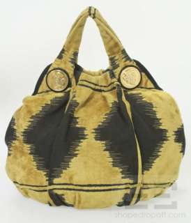 Black & Gold Velour Tapestry Hysteria Large Hobo Bag, Limited Edition
