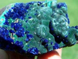 Royal Blue Azurite Crystal on Velvety Malachite A