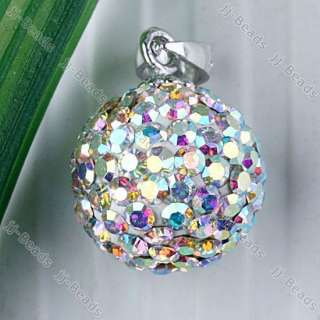1pc 925 Silver White AB Czech Crystal Ball Bail Pendant