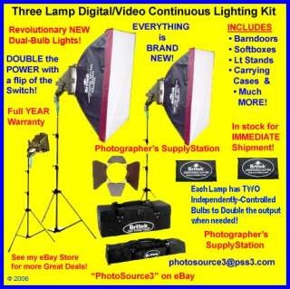 800W 3 Lamp Dual Bulb Digital/Video Lighting Kit NEW