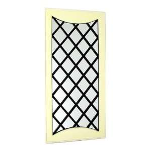 Antique White and Black Wood Framed Wall Mirror