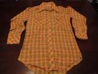Vtg Rawhide Mens Western Green & Peach Plaid Cowboy Rockabilly Shirt