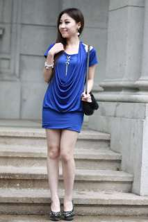 Sexy Korean Women V Neck Short Sleeve Mini Dress 0652