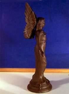 Majestic Angel Statue Cast Iron Rust Finish