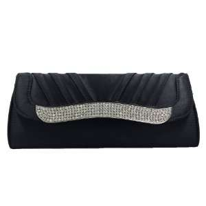 Black Satin Flap Clutch Purse with Rhinestone Everything