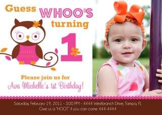 OWL 1ST BIRTHDAY BABY SHOWER INVITATIONS U PRINT