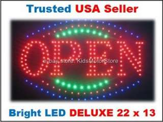 LARGE ANIMATED LED Light OPEN Neon SIGN Running Motion