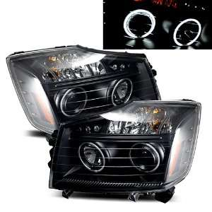 08 09 Nissan Titan Black CCFL Halo Projector Headlights /w