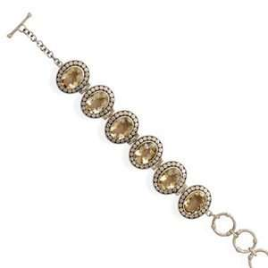 Oval Yellow Citrine Sterling Silver Bracelet 6 stone Adjustable for