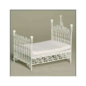 Dollhouse Miniature White Wire Post Bed