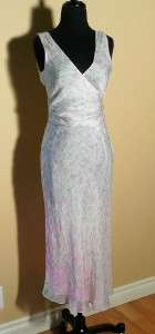 Tibi Whisper Silk Tulip Print Dress Sz 2 ~ Faux Wrap White & Pink