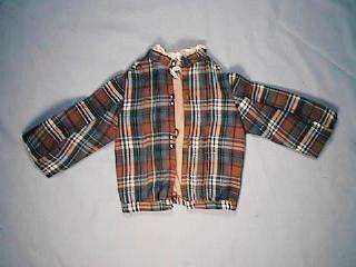 Glen Plaid Doll Jacket High Collar Brass Buttons