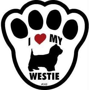 I Love My Westie Dog Pawprint Window Decal w/Suction Cup
