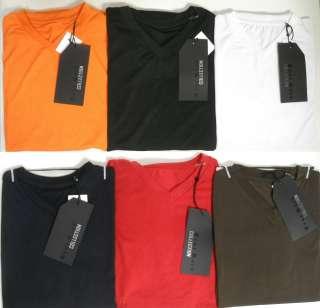 neck T shirt white brown navy orange red black size M L XL 2XL