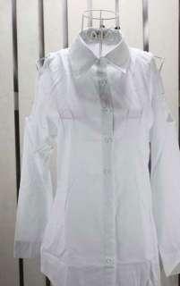 Women Open Shoulder Slim Button Button Down Cotton Blouse Shirt w Belt