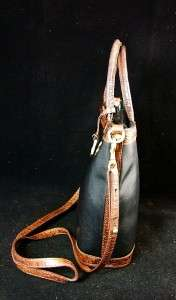 Brahmin Tuscan Black & Brown Croc Leather Tote Handbag, Shoulder Purse